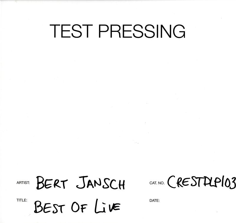 Bert Jansch - Best Of Live - Vinyl LP Test Pressing