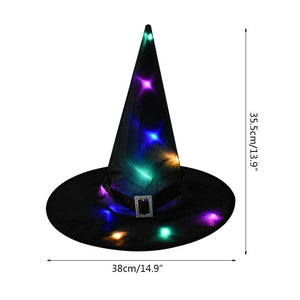 LED light glowing witch hat hanging halloween decoration