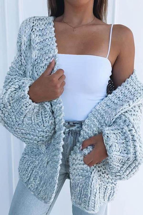 Solid Color Puff Sleeve Sweater Cardigan