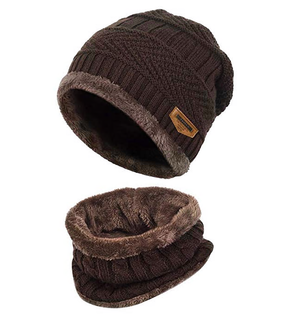 New autumn and winter comfortable caps thickening plus velvet hat bib two-piece beanies