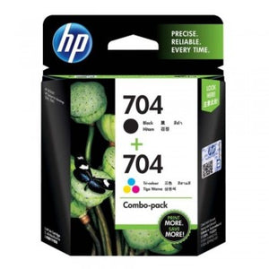 HP 704 Black & Tri-Color Combo Pack Ink Cartridges