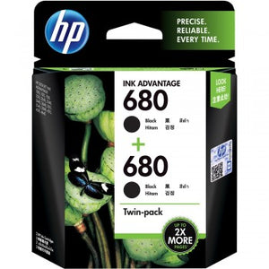HP 680 Black & Black Twin Pack Ink Cartridges