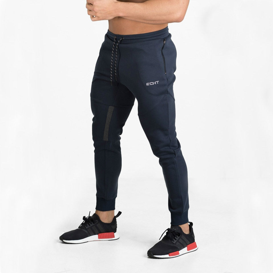 Elastic Navy Sweatpants
