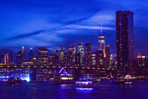 NYC skyline by boat in glitter