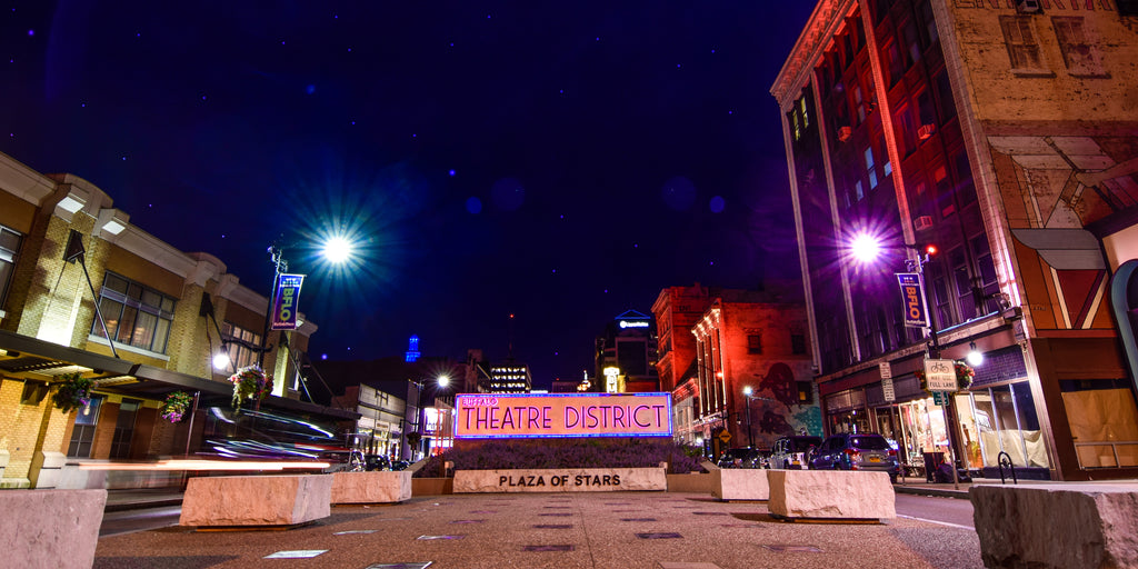 Buffalo Theater District at dark