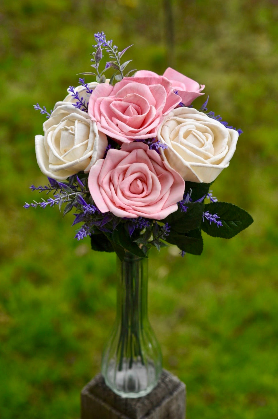 Pink and Ivory Rose Sixer