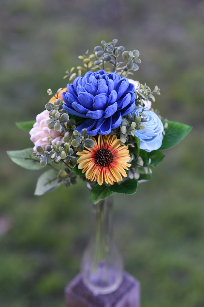 Sunflower and Blues Mini Bouquet