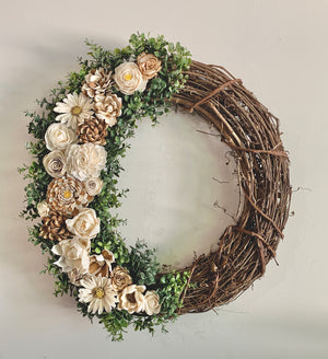"Naturally Ivory 18"" Grapevine Wreath"