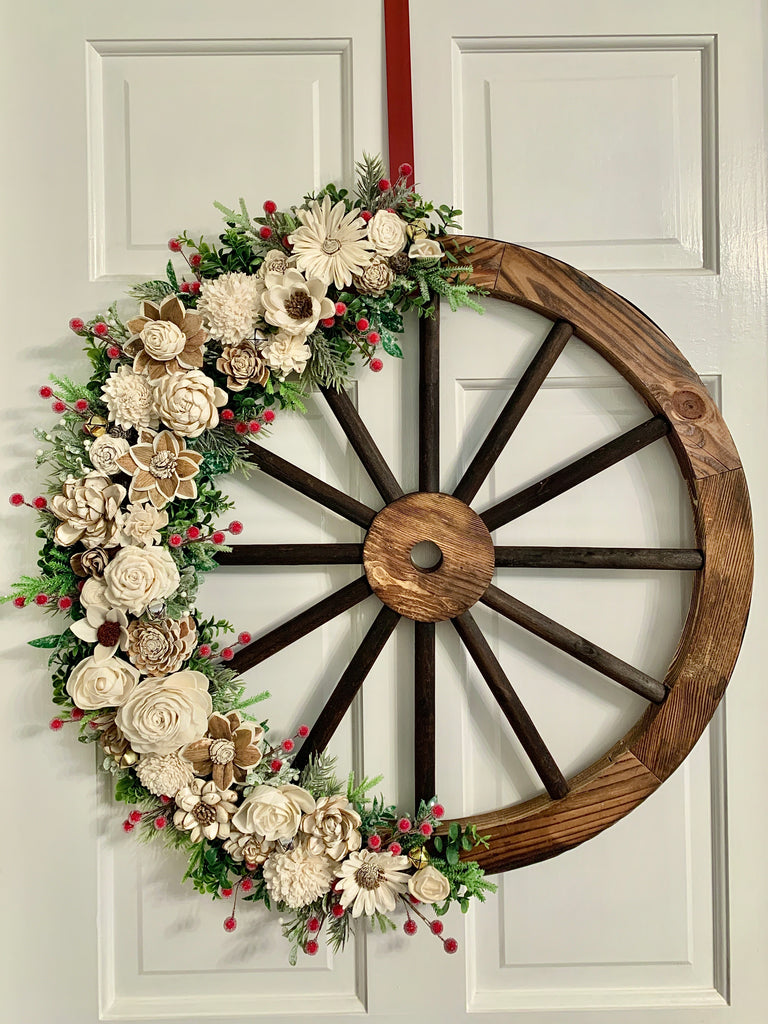 "Holiday Natural Wagon Wheel 24"" (LOCAL Pick-up or Delivery ONLY)"
