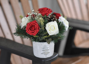 Red and White Rose Tree Pot