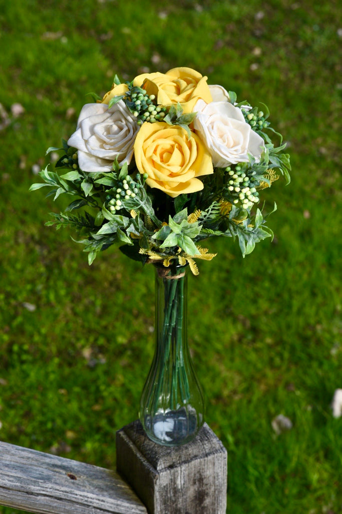 Yellow and Ivory Rose Sixer