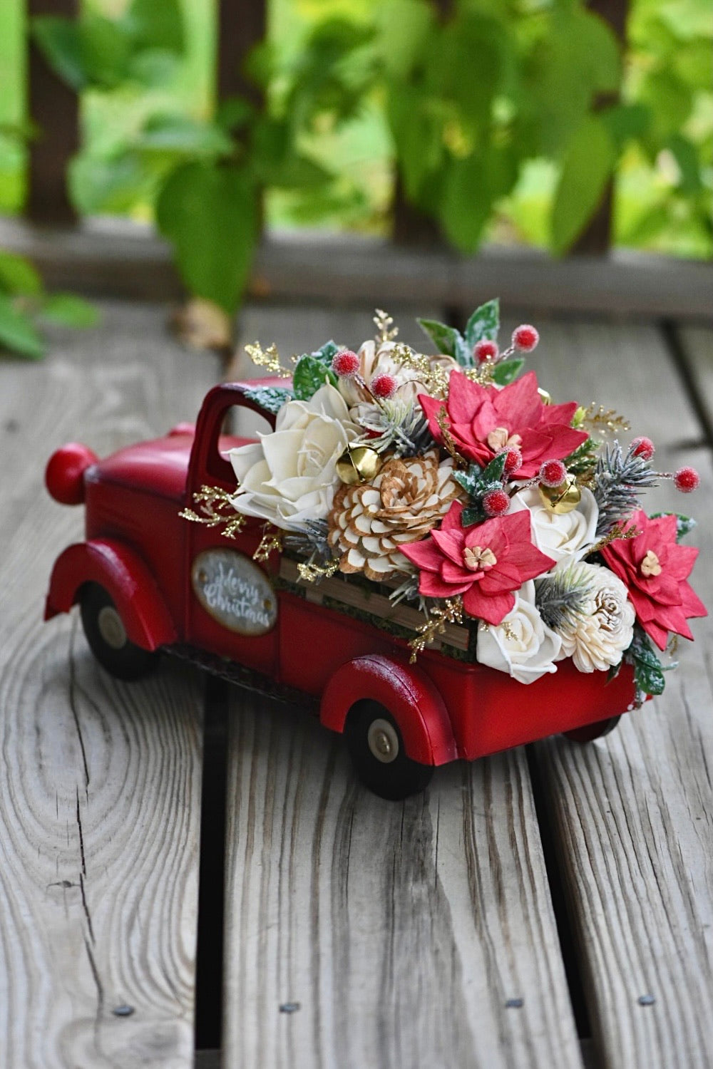 *Made to Order* Red Truck with Poinsettias
