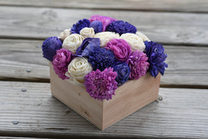 Purple and Ivory Flower Box Arrangement