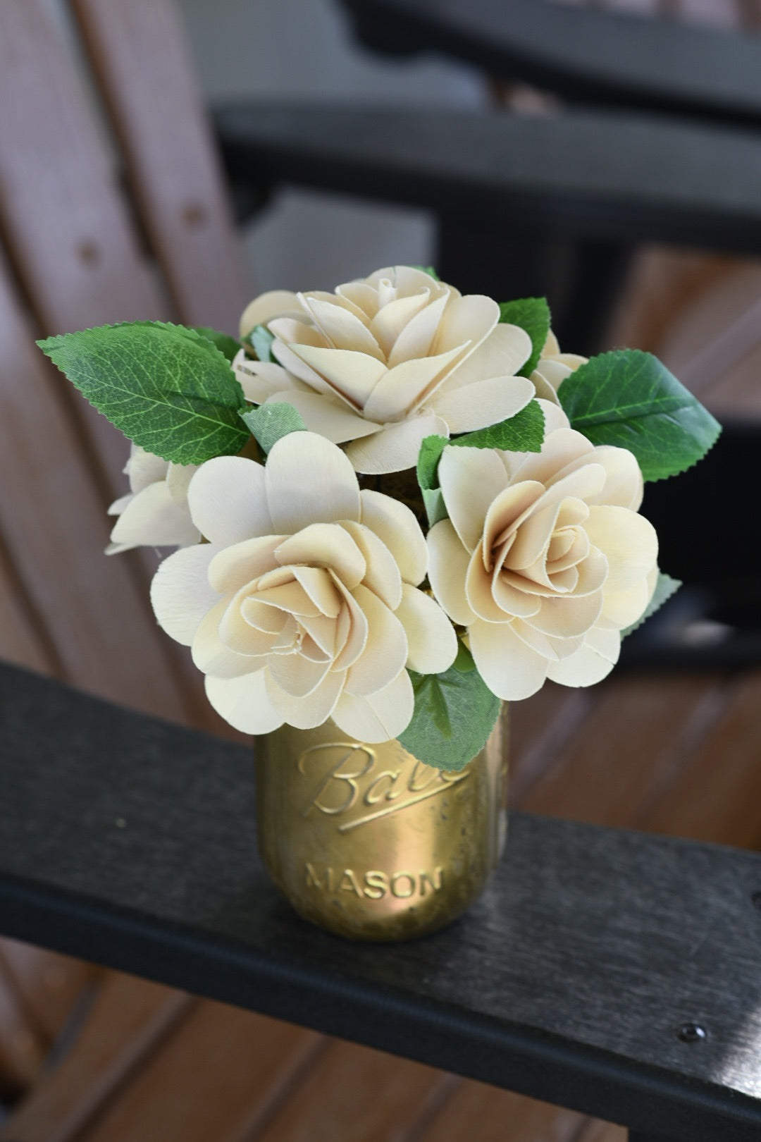 Carved Wood Flowers in Gold Mason Jar