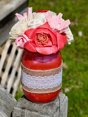 Red, Pink and Ivory Jar