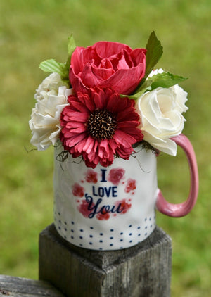I Love You Mug with Red and Ivory