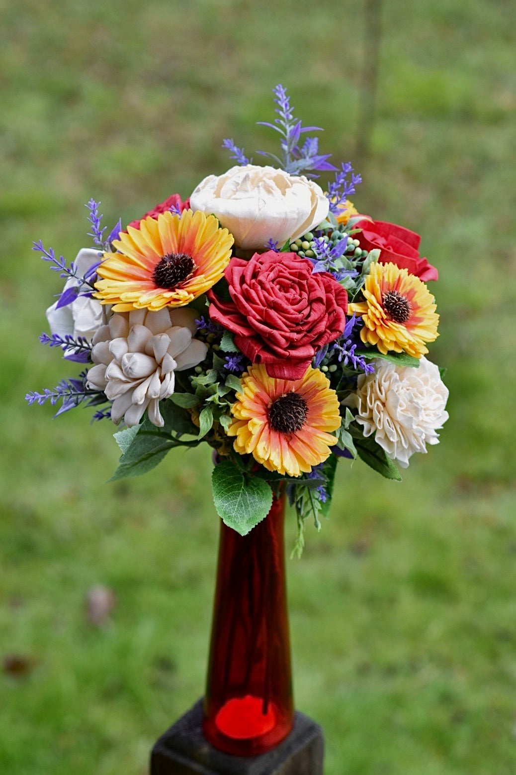 Luxury Sunflower & Red Bouquet