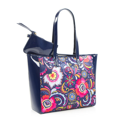 Bliss E/W Printed Tote with Bonus Pouch - Navy