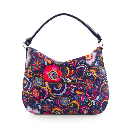 Bliss Printed Hobo Bag - Navy