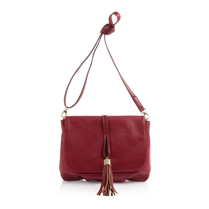 La Mode Crossbody with tassel - Dark Red