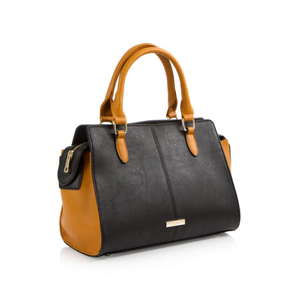 La Mode Top Handle Satchel - Cognac/Black