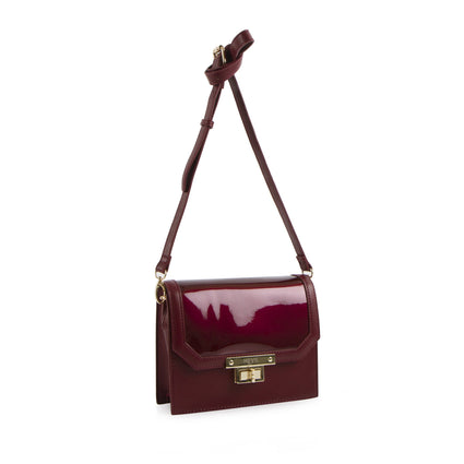 La Mode Patent flap Crossbody - Bordeaux