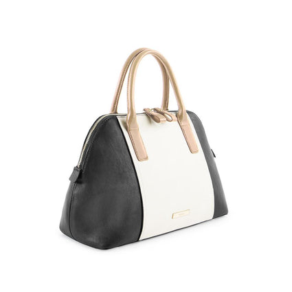 True Blue Colour Block Satchel - Black/Bone