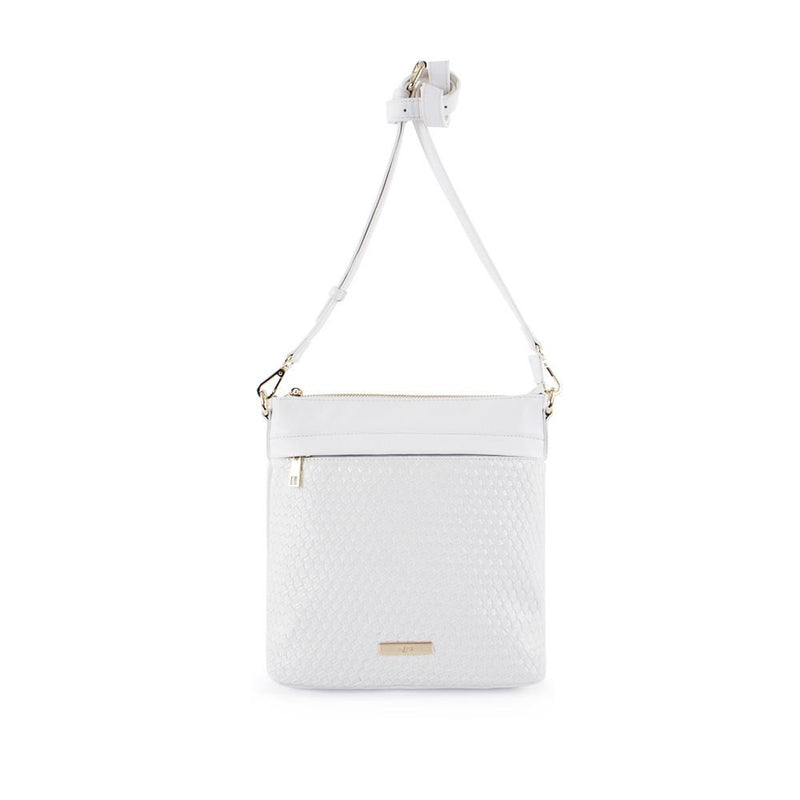 True Blue Woven Crossbody - White