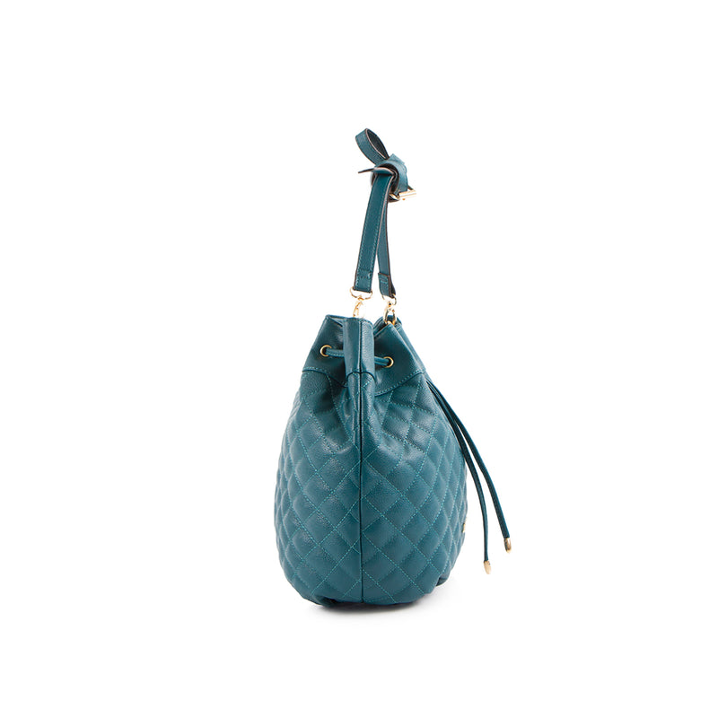 La Mode Square Quilted Drawstring - Teal