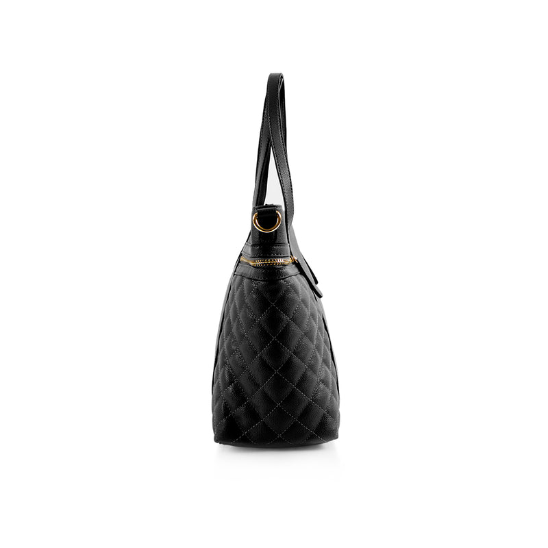 La Mode Tote with Quilted Side Pockets - Black