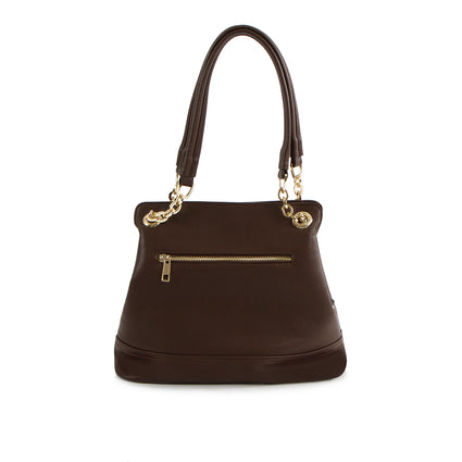 La Mode Shoulder Bag with Partial Chain Handle - Brown