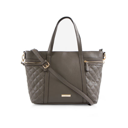 La Mode Tote with Quilted Side Pockets - Grey