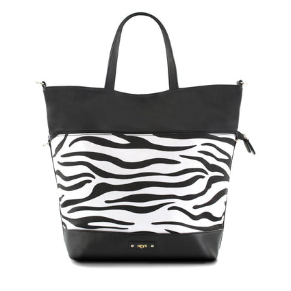 Tropical Oasis Convertible 3-in-1 Shoulder Bag/Tote - Zebra Print/Blk