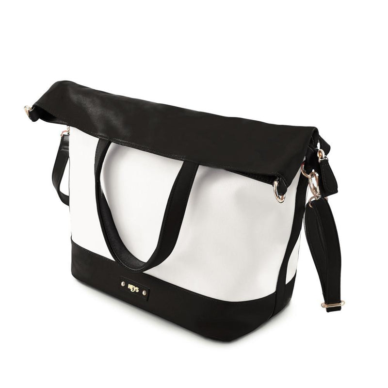 Tropical Oasis Convertible 3-in-1 Shoulder Bag/Tote - Wht/Blk