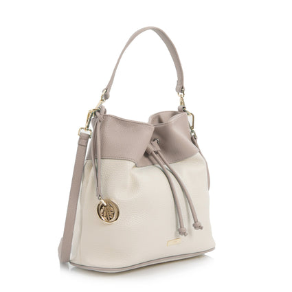 Spring Bliss Colour Block Drawstring with Charm - Bone/Taupe