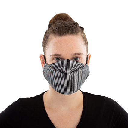 Reusable Fashion Face Mask - Black/White Stripes