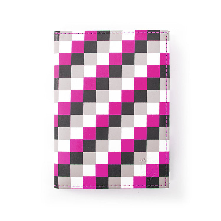 Pink Check Passport Holder