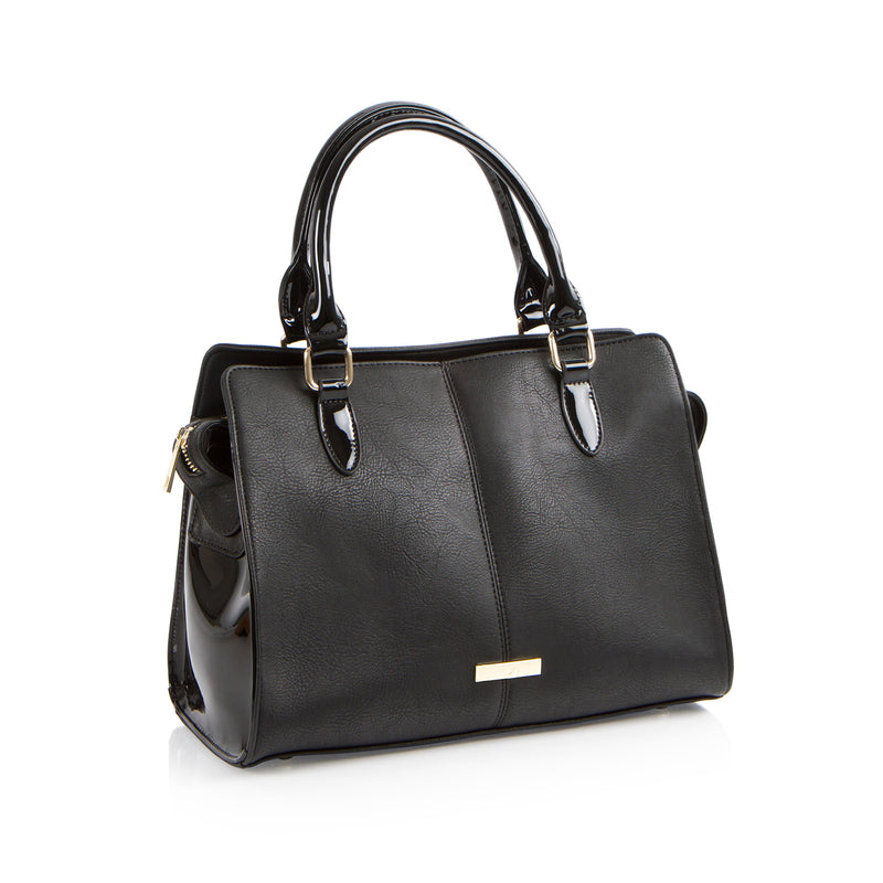 La Mode Top Handle Satchel - Black