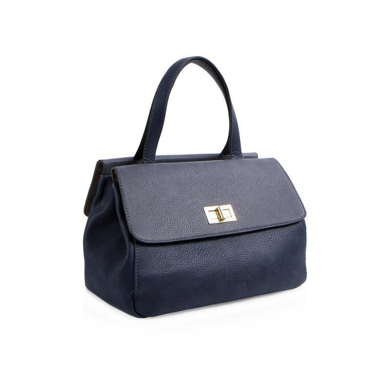 La Mode Dual-Flap Satchel - Navy/Grey