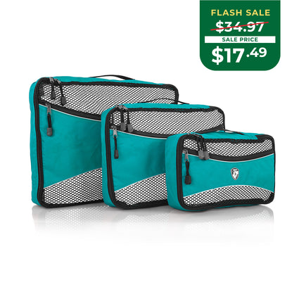 EARTH DAY FLASH SALE - Ecotex 3 pc Packing Cube Set™ with Front Zippered Pocket