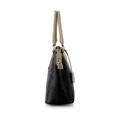 Hint of Brit Satchel w. Contrast Handles - Black/Taupe
