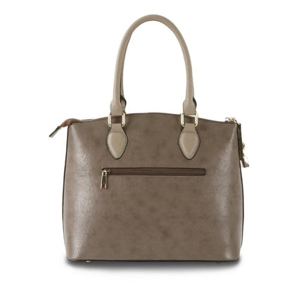 Hint of Brit Satchel w. Contrast Handles - Taupe