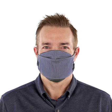 Reusable Fashion Face Mask - Navy Blue/White Stripes