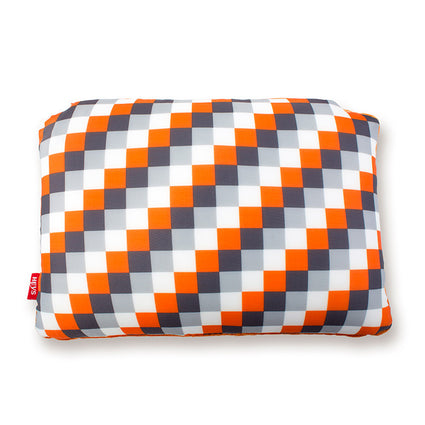 Orange Check 2-in-1 Travel Pillow