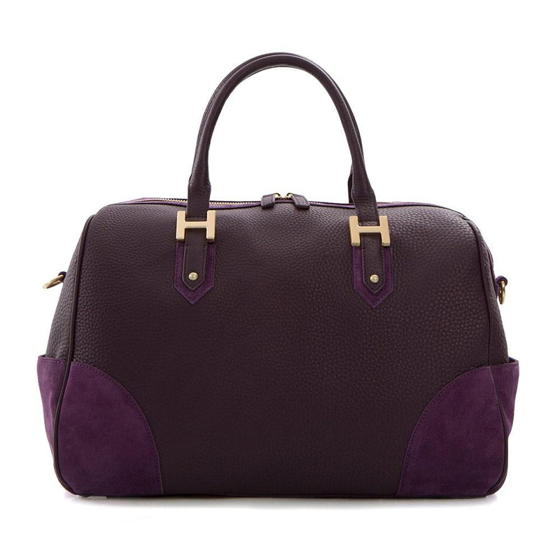 Soho Classic Leather/Suede Large Satchel - Purple