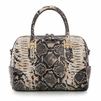 Soho Classic Snake Small Satchel - Brown/Black Snake