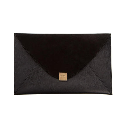 Soho Leather/Suede Oversized Envelope Clutch - Black