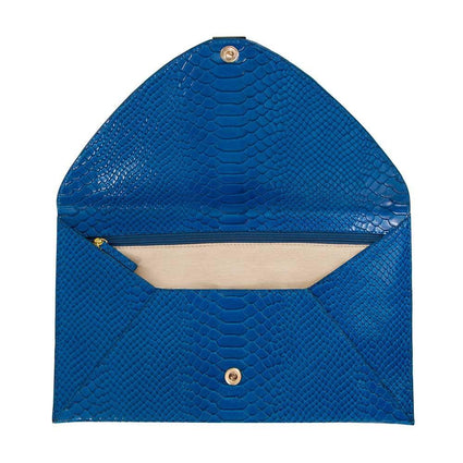 Soho Snake Oversized Envelope Clutch - Blue Snake