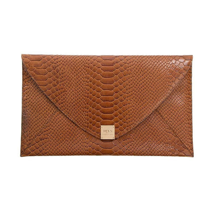 Soho Snake Oversized Envelope Clutch - Tan