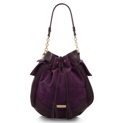 Soho Suede/Leather Large Drawstring Bag - Purple